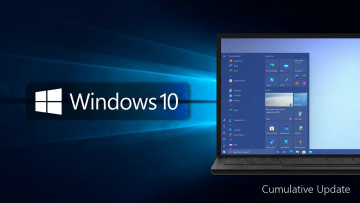 Windows 10 logo with a PC running the OS next to it