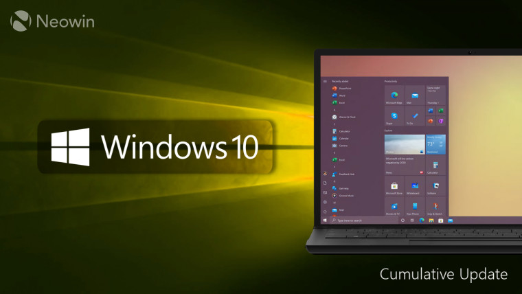 Windows 10 logo and text with laptop with Start Menu open