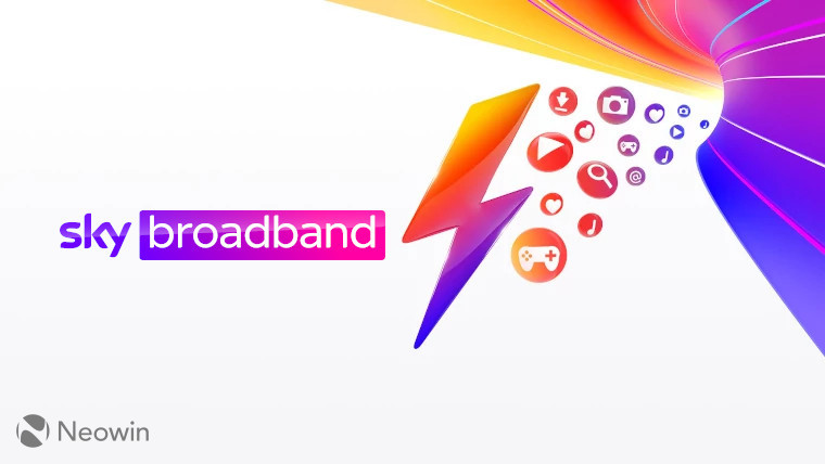 The Sky Broadband logo on a Sky Broadband background