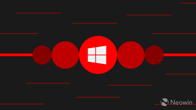 Windows logo against red circular shapes and a dark background