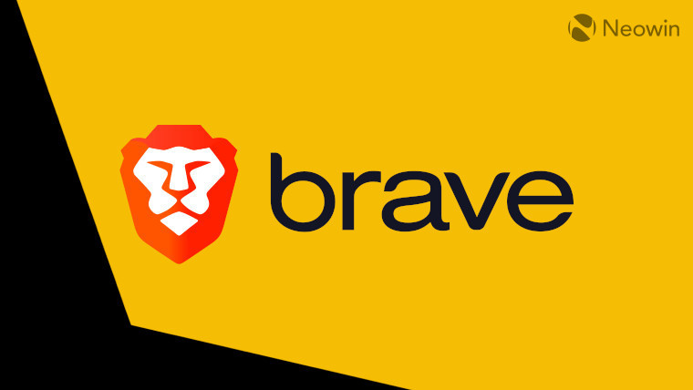 The Brave logo on a yellow and black wallpaper
