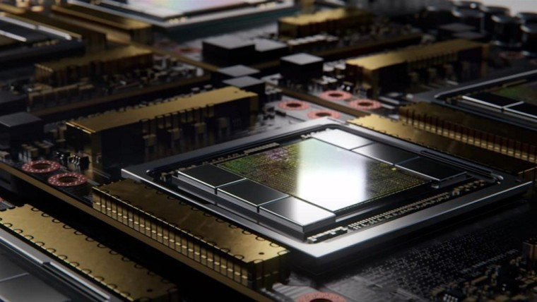 Nvidia A100 GPU chip with six HBM stacks surrounding it