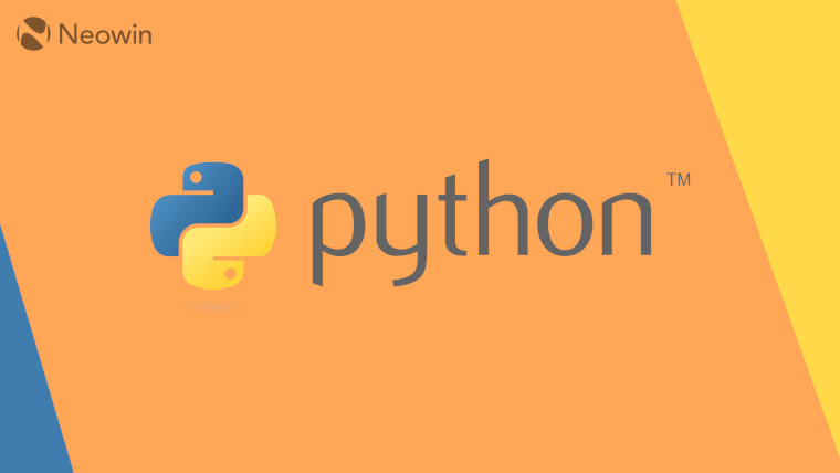 The Python logo on a blue, orange and yellow background