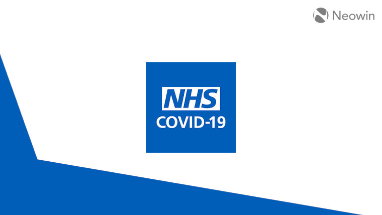 The NHS COVID-19 app logo on a blue and white background