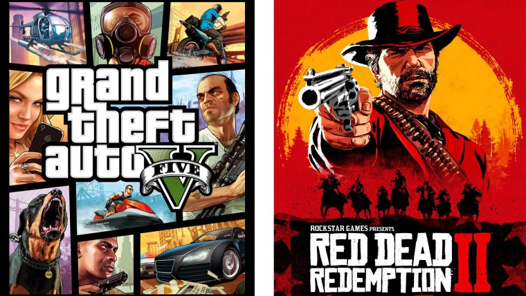 Cover art of GTA V and Red Dead Redemption 2