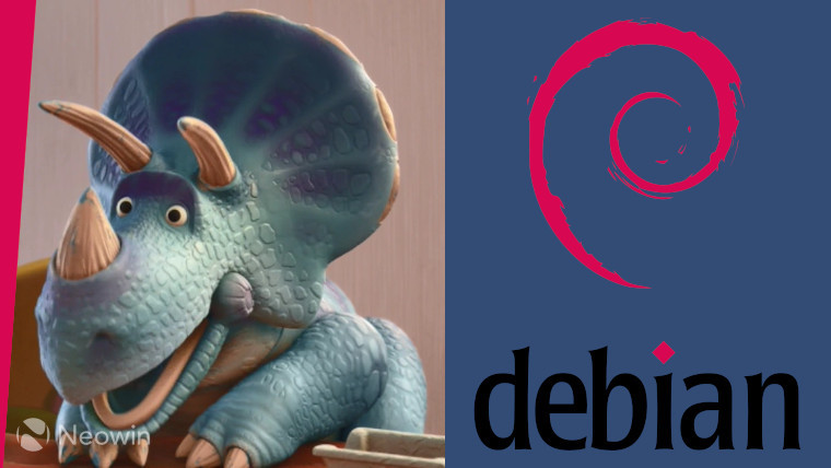 The Debian logo on a blue background next to Trixie from Toy Story