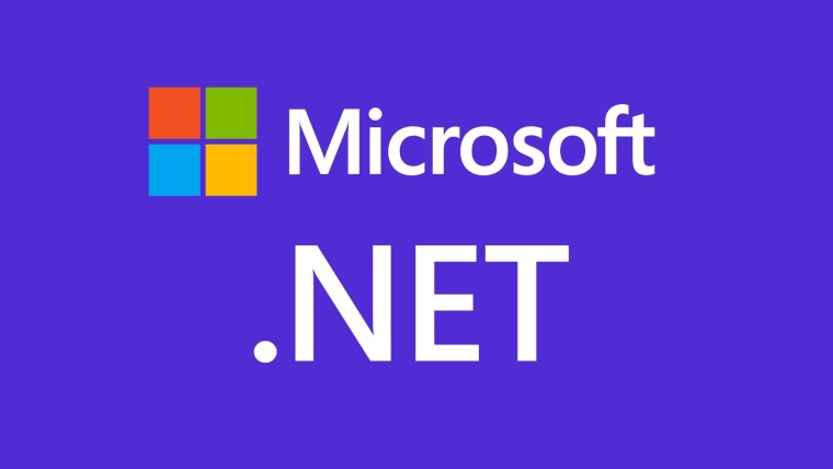 Microsoft logo and icon with Dot NET written below on a blue background