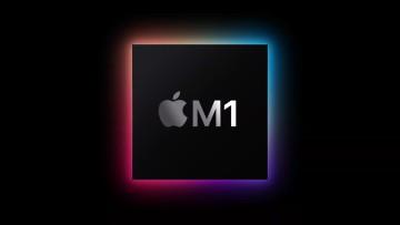 Render of Apple M1 chip glowing underneath