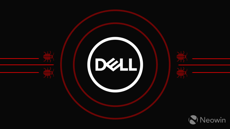 Dell logo surrounded by red circles and bugs