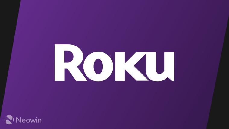 The Roku logo on a purple and black background