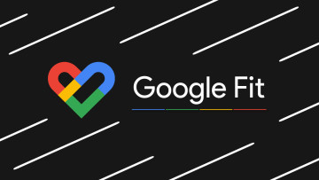 Google Fit logo and white text on a black background