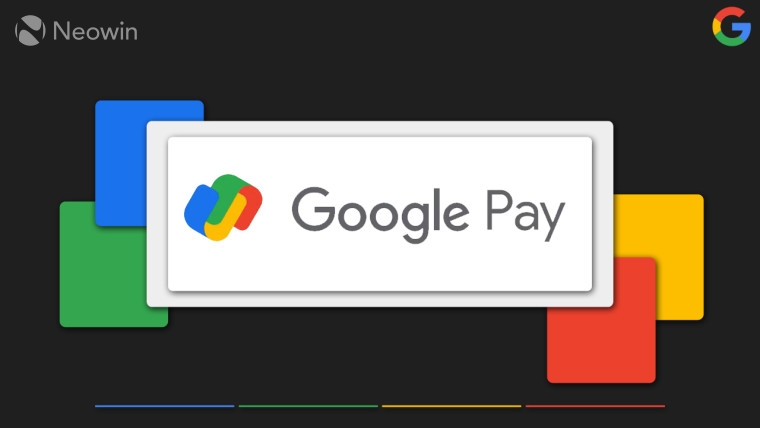 Google Pay logo on a white rectangle over a black background