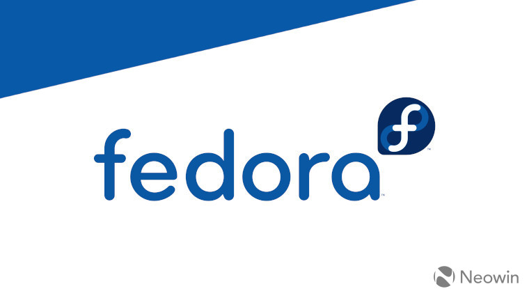 The Fedora logo on a blue and white background
