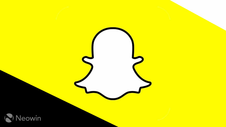 The Snapchat logo on a white, yellow and black background