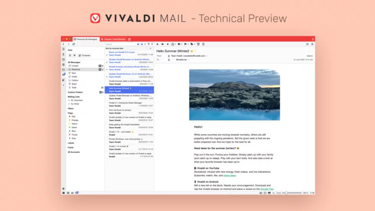 A graphic showing off the new Vivaldi Mail
