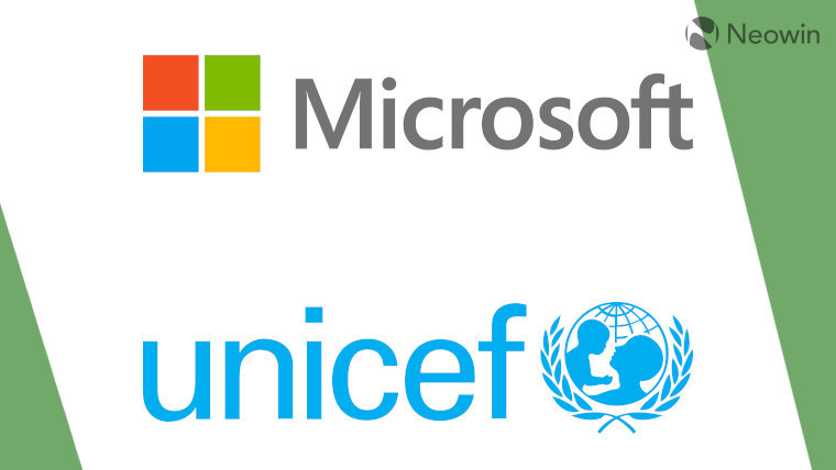 The Microsoft and UNICEF logos on a white and green background