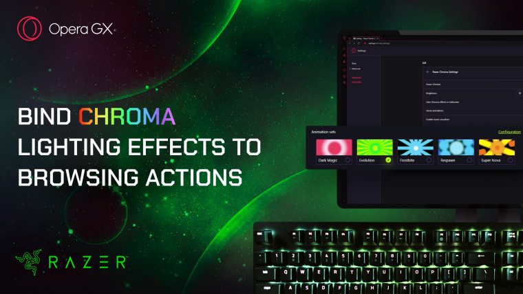 A graphic created by Opera showing off Razer Chroma RGB Lighting Effects