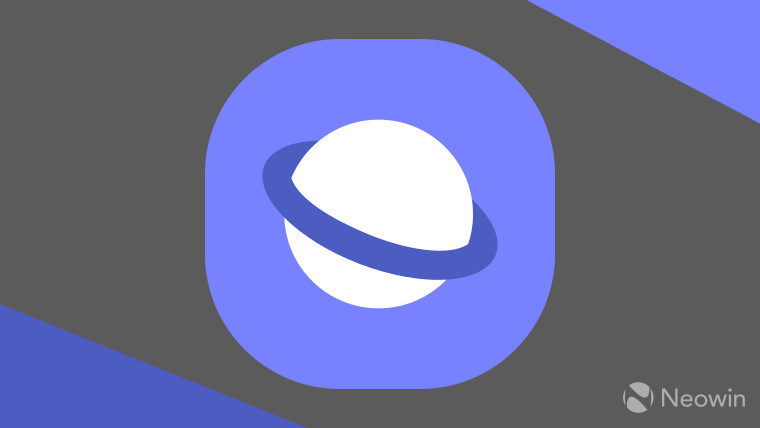 The Samsung Internet logo on a grey and purple background