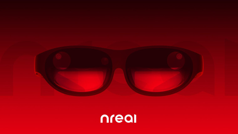 The Nreal Light glasses on a red and black background