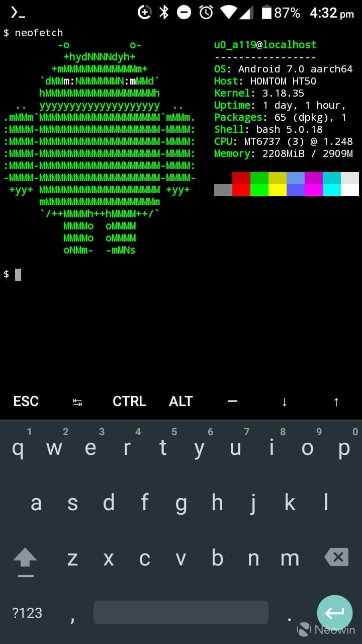 Neofetch running in Termux on Android