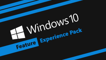Windows 10 Feature Experience Pack text on black and blue background