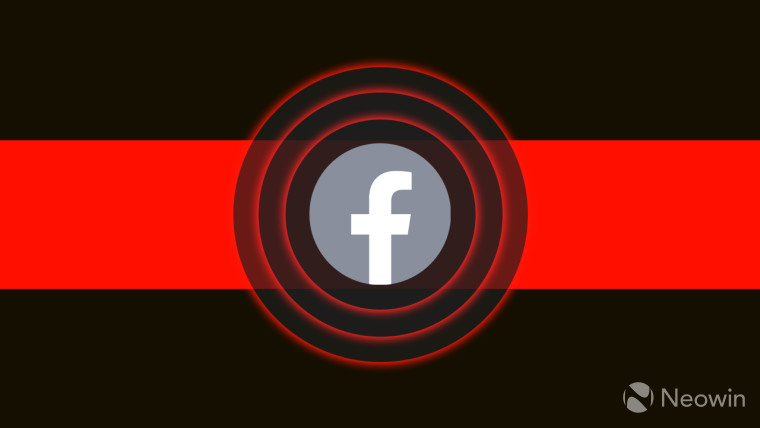 A Facebook logo with concentric circles on a black and red background