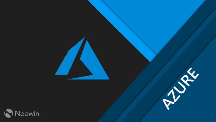Azure logo on a dark background with blue shapes around it