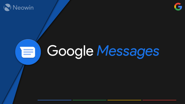 Google Messages logo against a black and blue background