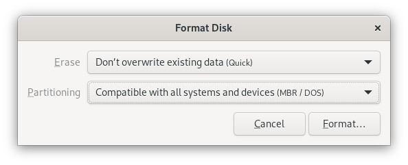 The dialog box that appears once you choose to format the disk