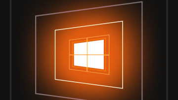 Windows10 logo with an orange background