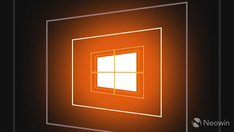 Windows10 logo with an orange background