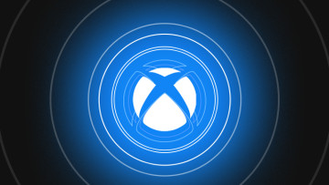 Xbox logo against a blue background with white circles around it