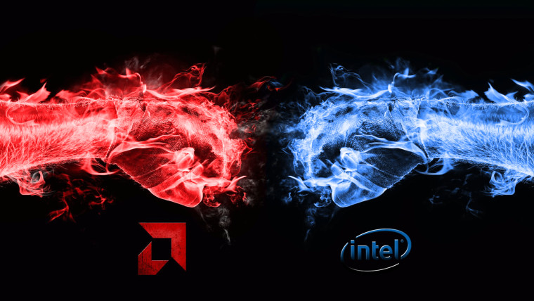 AMD in red and Intel in blue fists about to strike