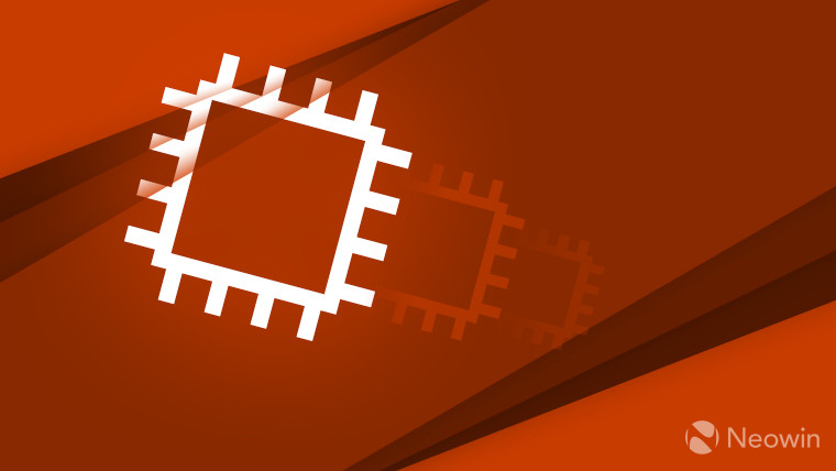 A graphic representing a computer chip on a red background