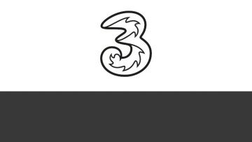 The Three logo on a black and white background