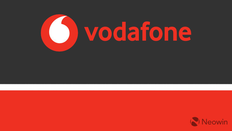The Vodafone logo on a black, white and red background