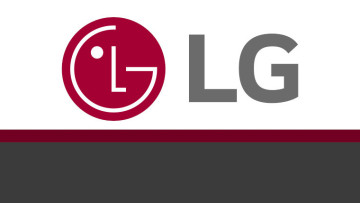 The LG logo on a white red and grey background