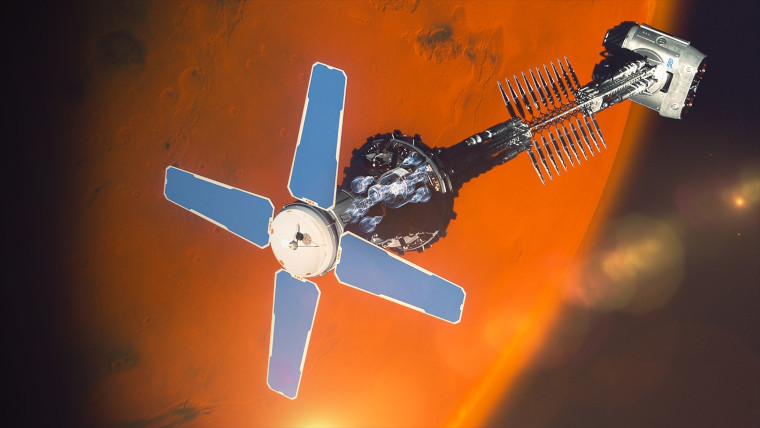 A nuclear-powered spacecraft in Mars orbit