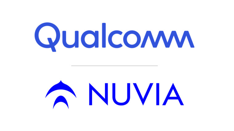 The Qualcomm and NUVIA logos on a white background