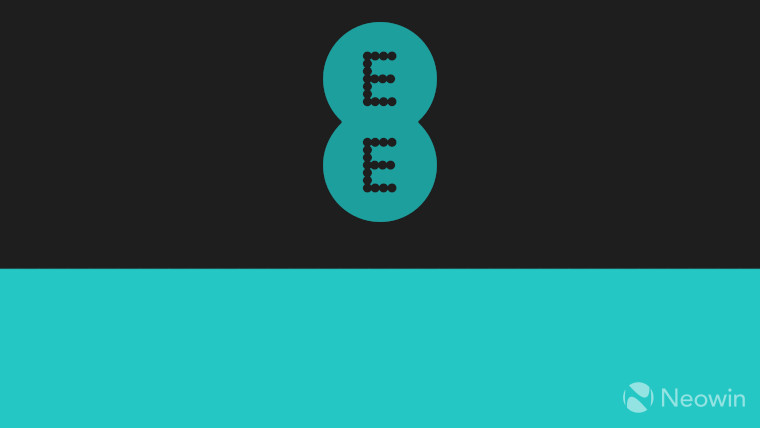 The EE logo on a black a green background