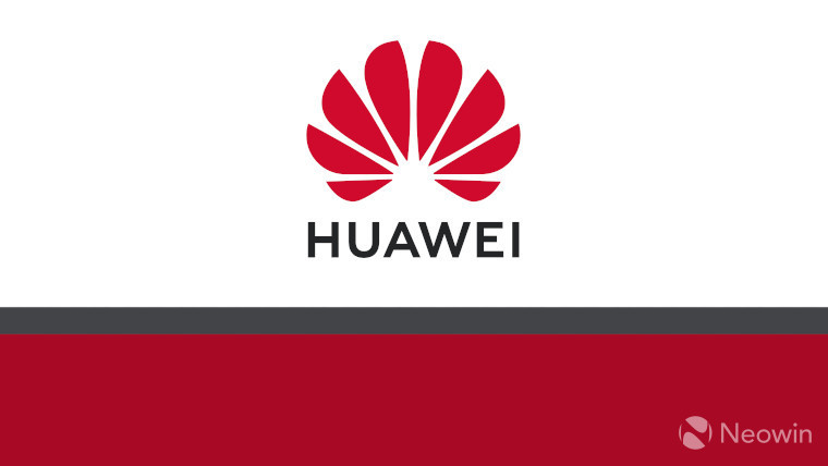 The Huawei logo on a white, grey and red background