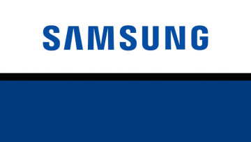 The Samsung logo on a white blue and black background