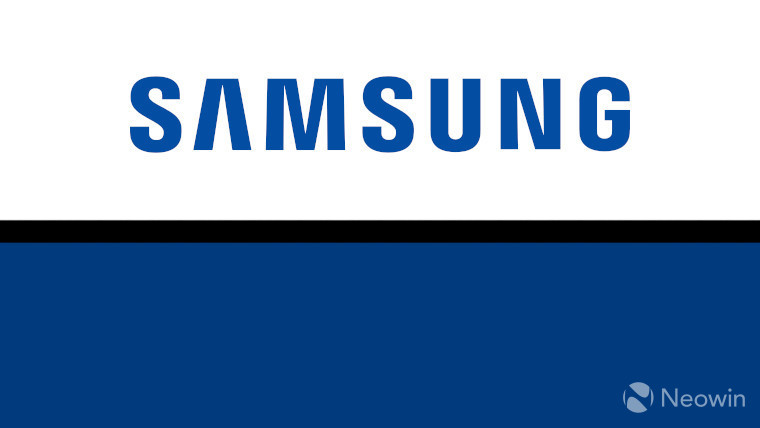 The Samsung logo on a white, black and blue background