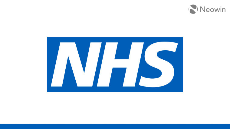 The NHS logo on a white and blue background