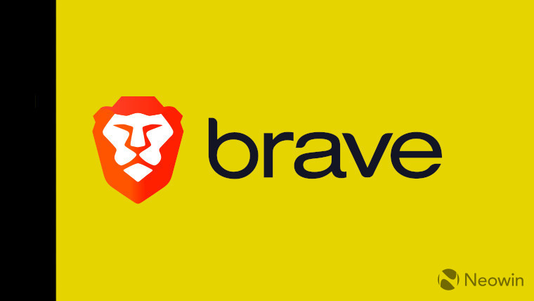 The Brave logo on a yellow and black background