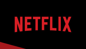 The Netflix logo on a black and red background