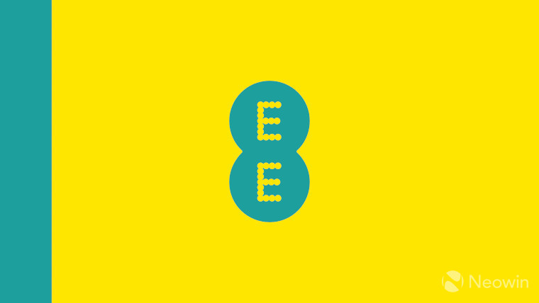 The EE logo on a teal and yellow background