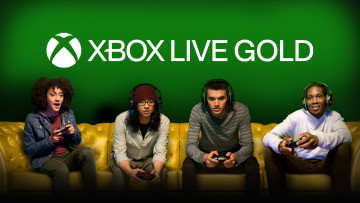 Four people sitting on a couch and playing on an Xbox console with the Live Gold logo behind them