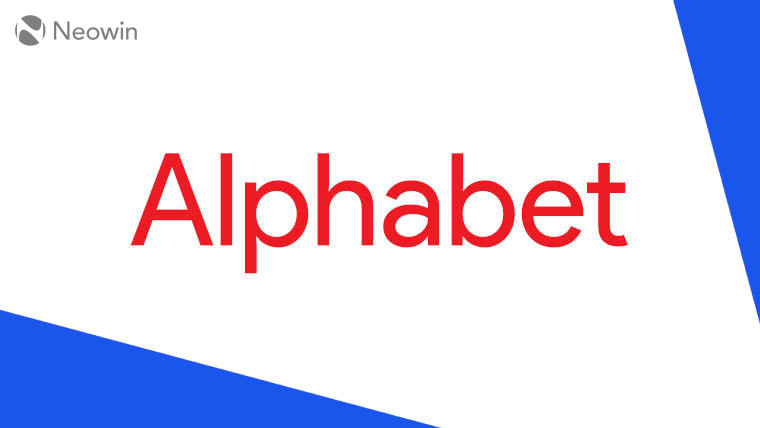 The Alphabet logo on a blue and white background