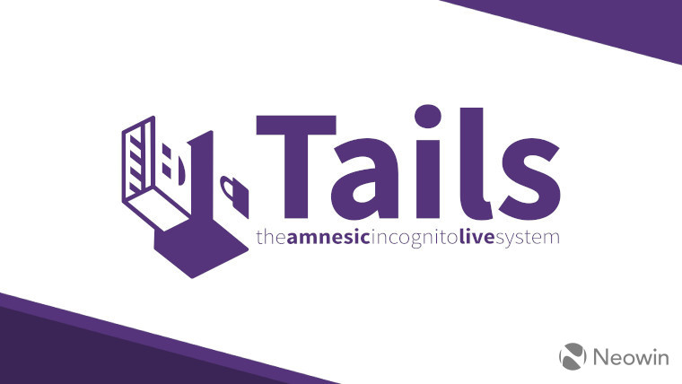 The Tails logo on a white and purple background